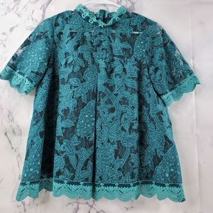 Anthropologie HD Peacock Lace Teal Blouse